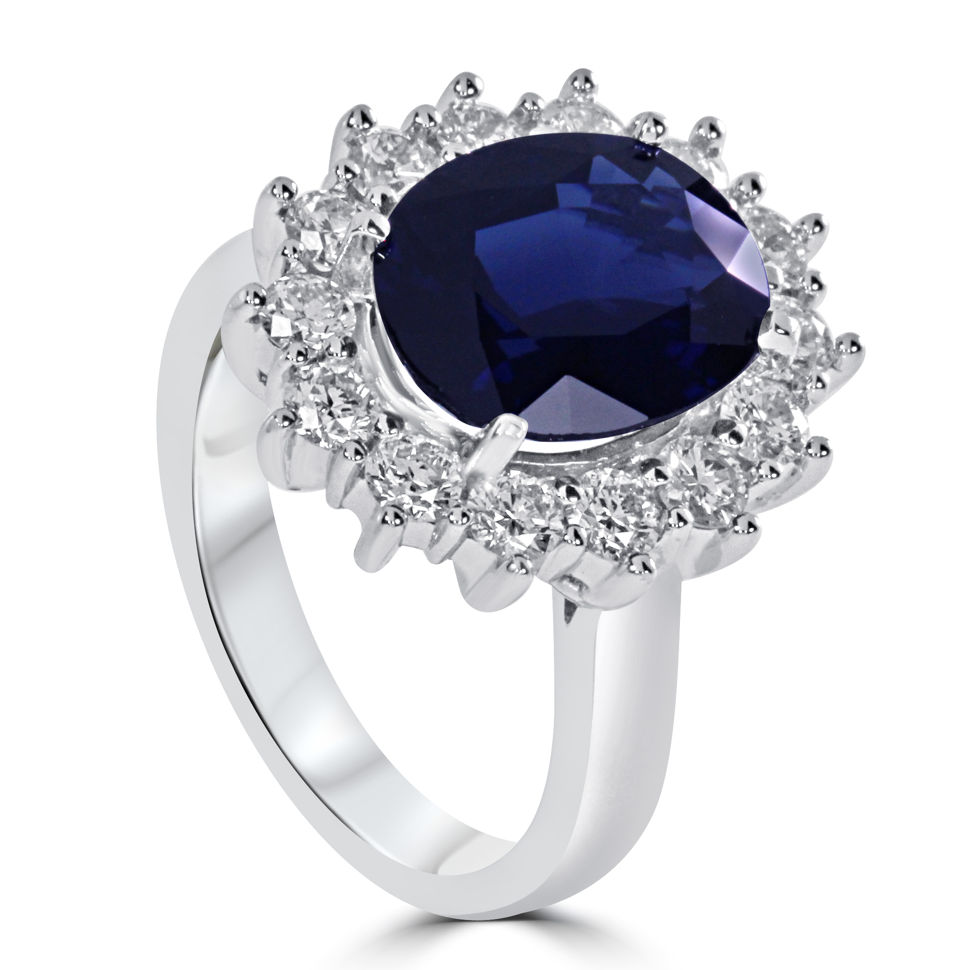 14k White Gold Oval Sapphire Diamond Halo Engagement Ring ...