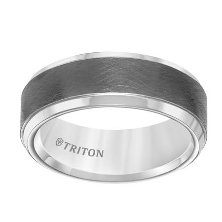 White Tungsten and Gun Metal Grey Band