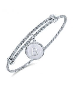 925 Silver/Stainless Steel Initial Bangle Bracelet