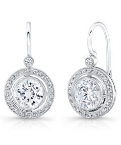 White Gold Halo Diamond Earring