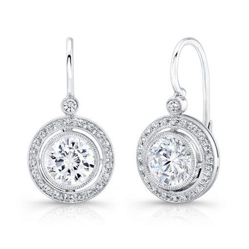 White Gold Halo Diamond Earring