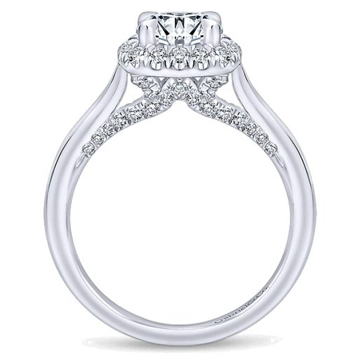 14k White Gold Entwined Diamond Halo Ring