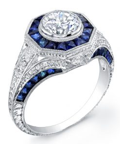 18k White Gold Art Deco Sapphire and Diamond Engagement Ring