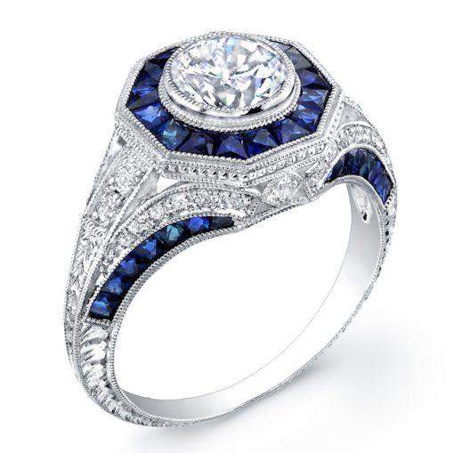 18k White Gold Art Deco Sapphire and Diamond Engagement Ring
