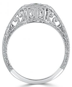 14k White Gold Antique Solitaire Ring