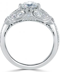 18k White Gold Antique Inspired Milgrain Engagement Ring