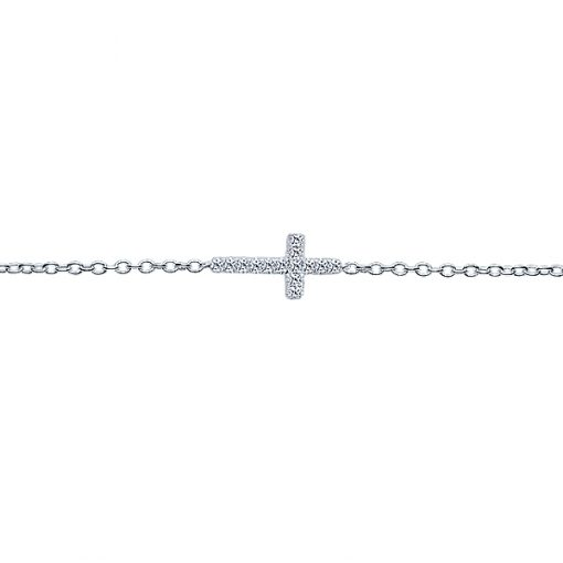 14k White Gold Cross Bracelet