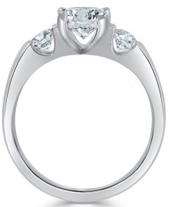 14k White Gold Three Stone Ring