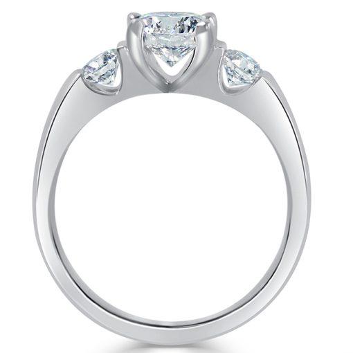 14k White Gold Three Stone Ring