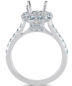 18k White Gold Ladies Halo Engagement Ring