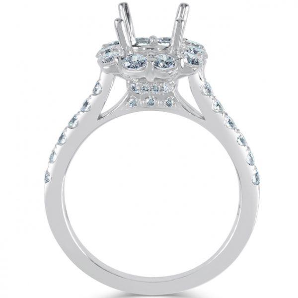 18k White Gold Ladies Halo Engagement Ring
