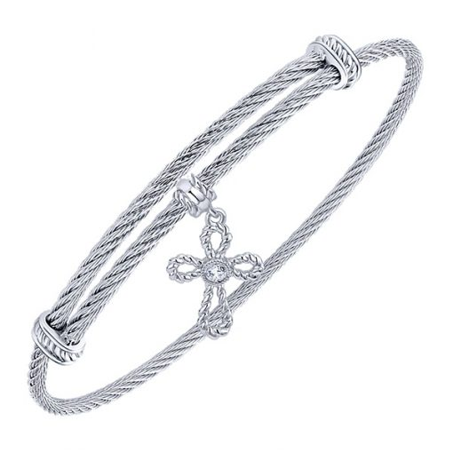 Silver and Stainless Steel Cross Charm Bracelet