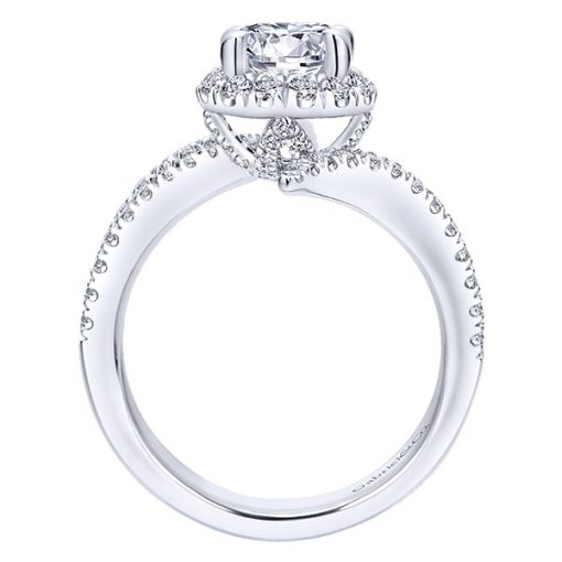 14k White Gold Halo Bypass Ring