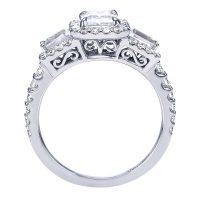 14k White Gold Emerald Cut Halo Ring