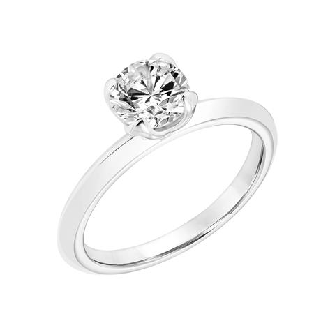14k White Gold 4 Prong Tulip Head Solitaire Ring