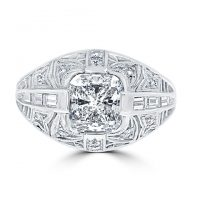 18k White Gold Art Deco Engagement Ring