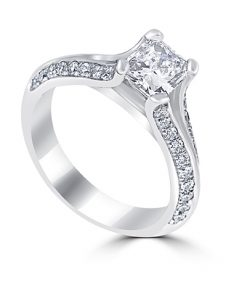 14kt White Gold Radiant Diamond Engagement Ring