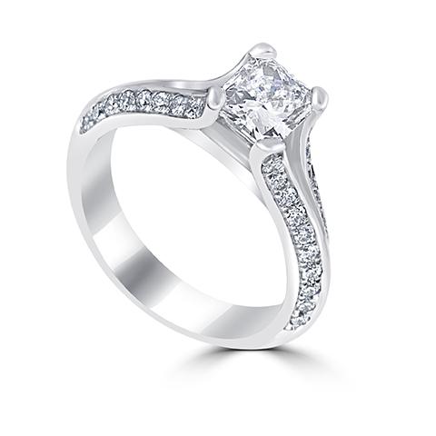 14kt White Gold Radiant Diamond Engagement Ring