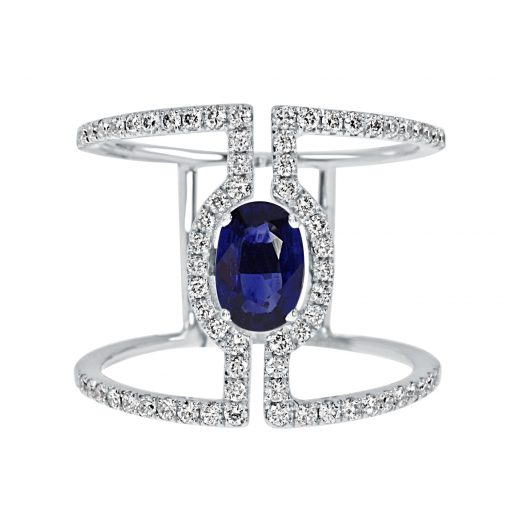 18kt White Gold Oval Sapphire Halo Engagement Ring