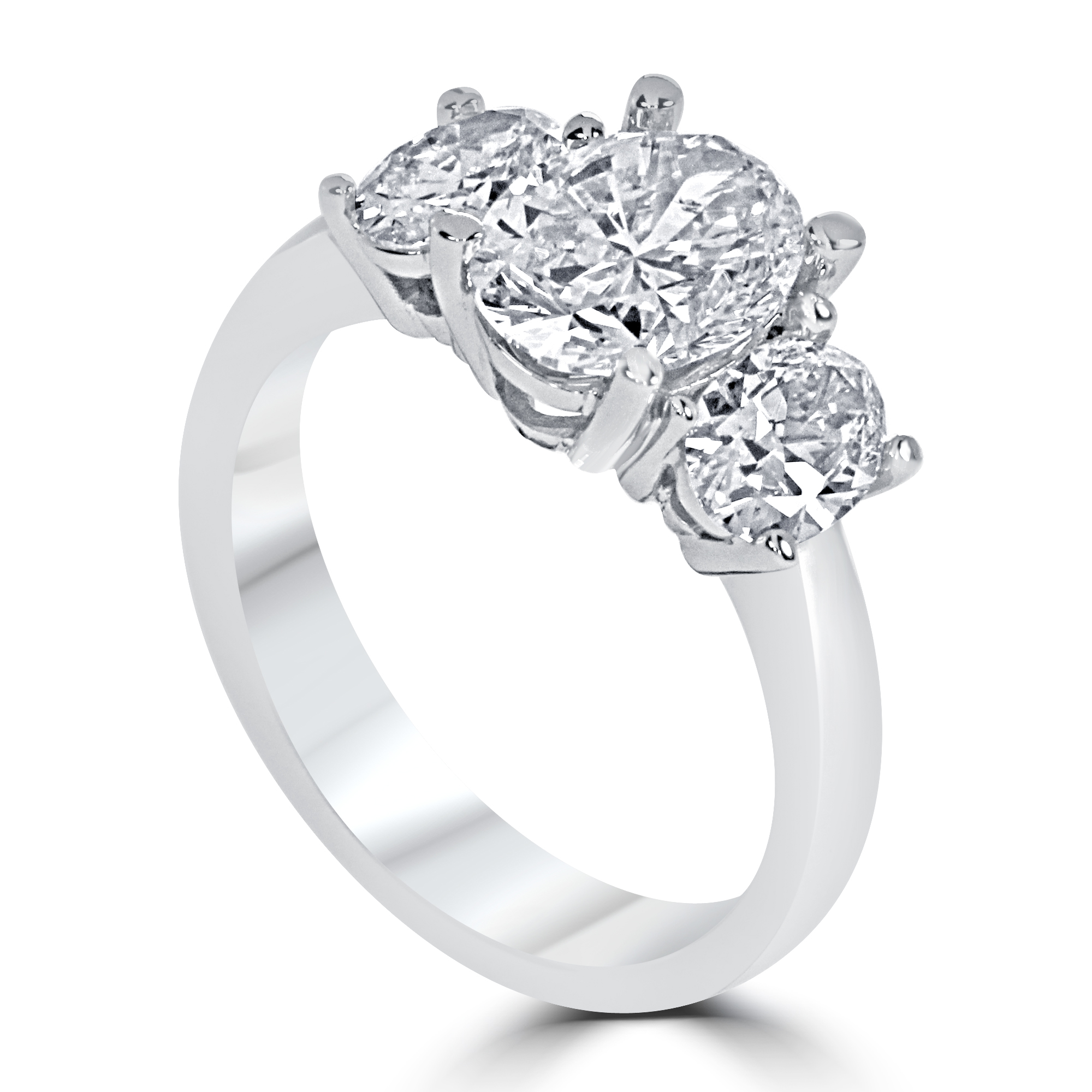 14k White Gold Three Stone Oval Engagement Ring