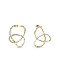 14kt Yellow Gold Hoop Diamond Earrings