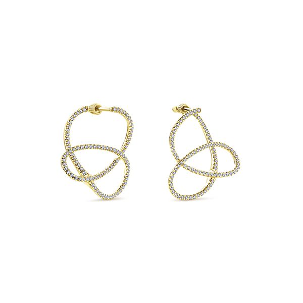 14kt Yellow Gold Hoop Diamond Earrings