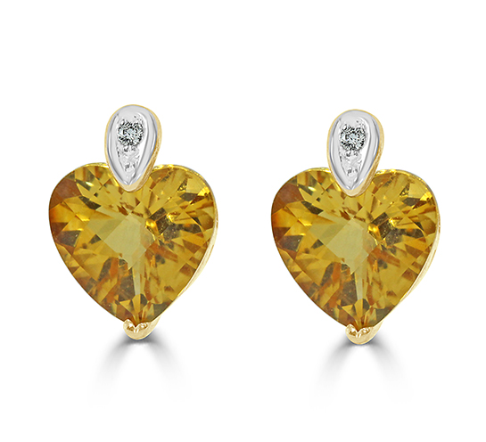 14k Yellow And White Gold Citrine Earrings 2256
